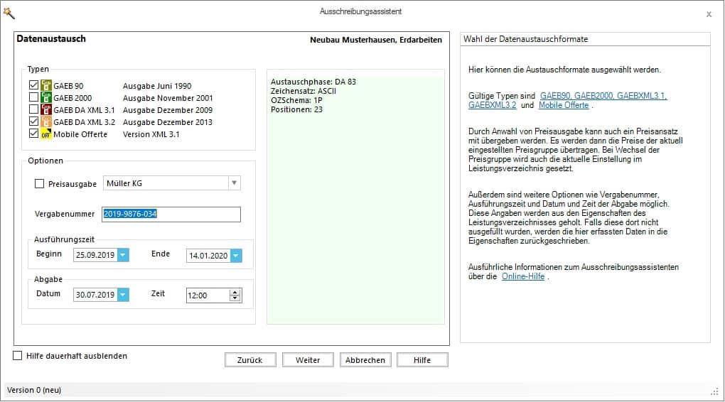 AVA-Software mit Ausschreibungsassistent