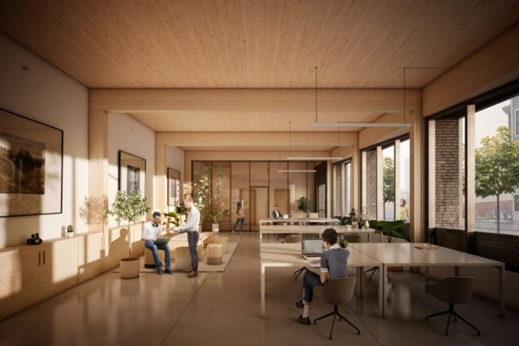 Nullenergiehaus in Boston wird im modularen Holzbau errichtet. Hier das Erdgeschoss mit dem Co-Working-Space.