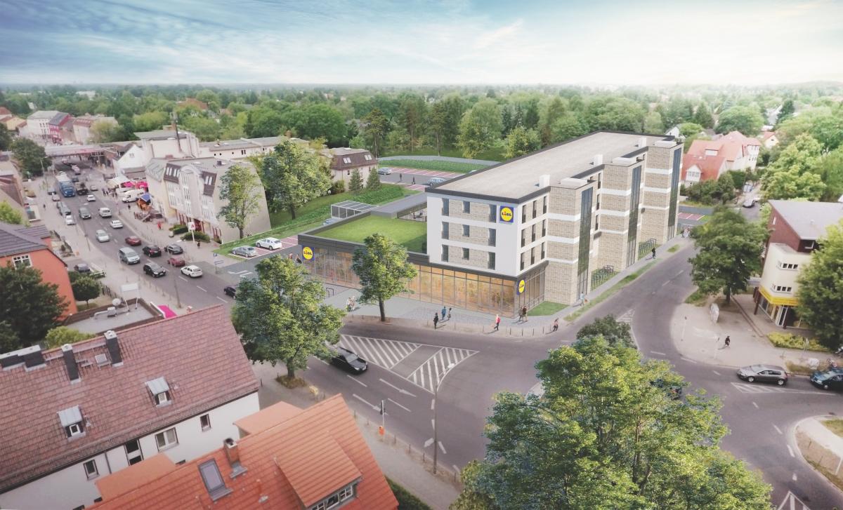 Modulbauweise: Serieller Wohnungsbau über der Lidl-Filiale.