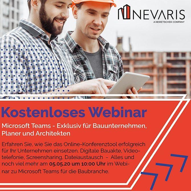 Expertenschulung von Nevaris zum Einsatz von Microsoft Teams im Bauwesen