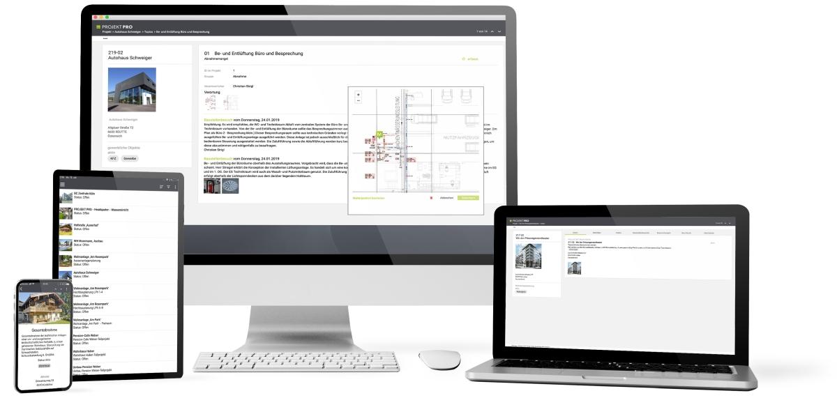 Bauprojektmanagement mobil und in der Cloud
