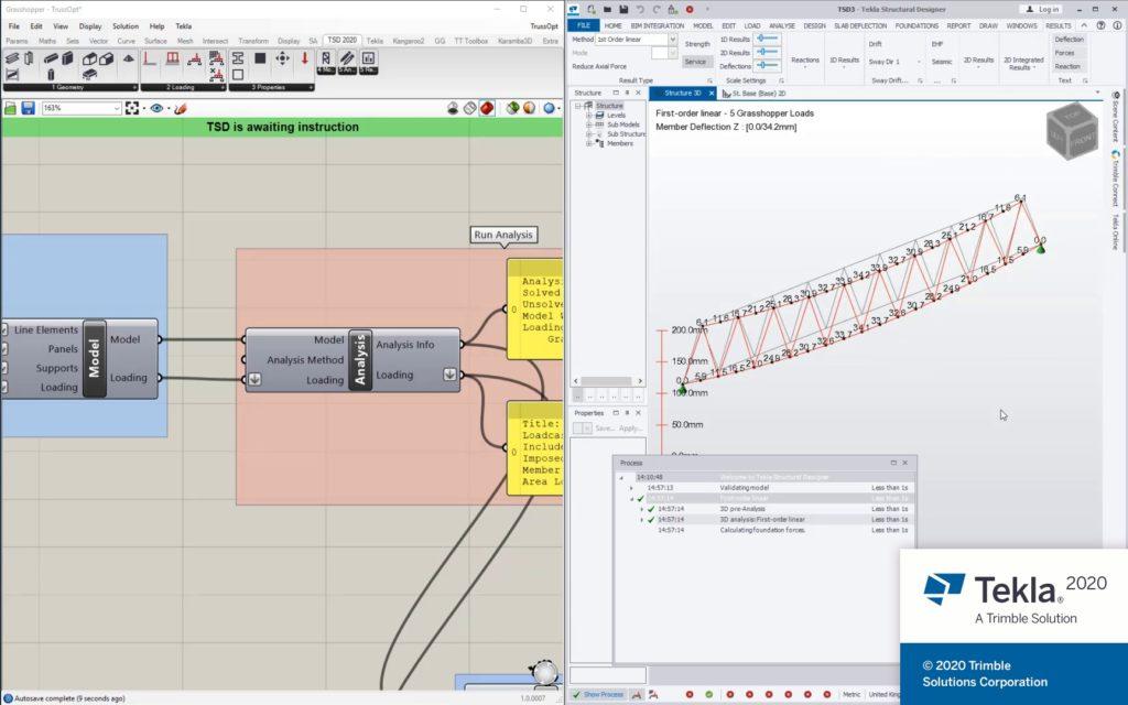 Tekla Structural Designer mit Verbindung zum Modellierungs-Plug-in Grasshopper.