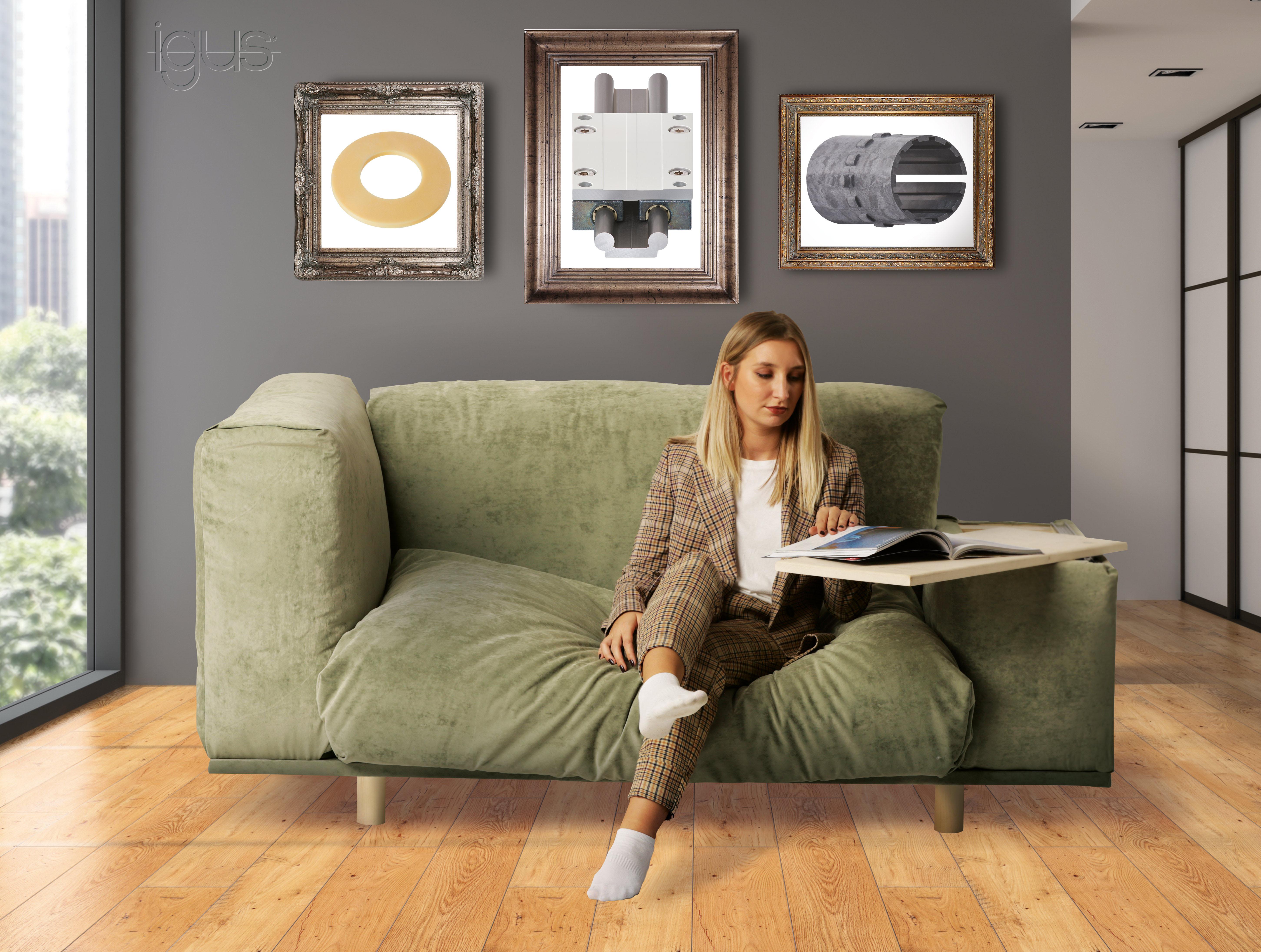 Der Sofa-Schreibtisch: Schmier- und wartungsfreie Tribo-Polymerlager für den Möbelhybrid