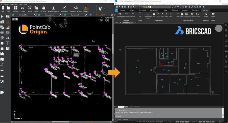 Punktwolken-Modellierung: Plug-in von PointCab für Bricscad.